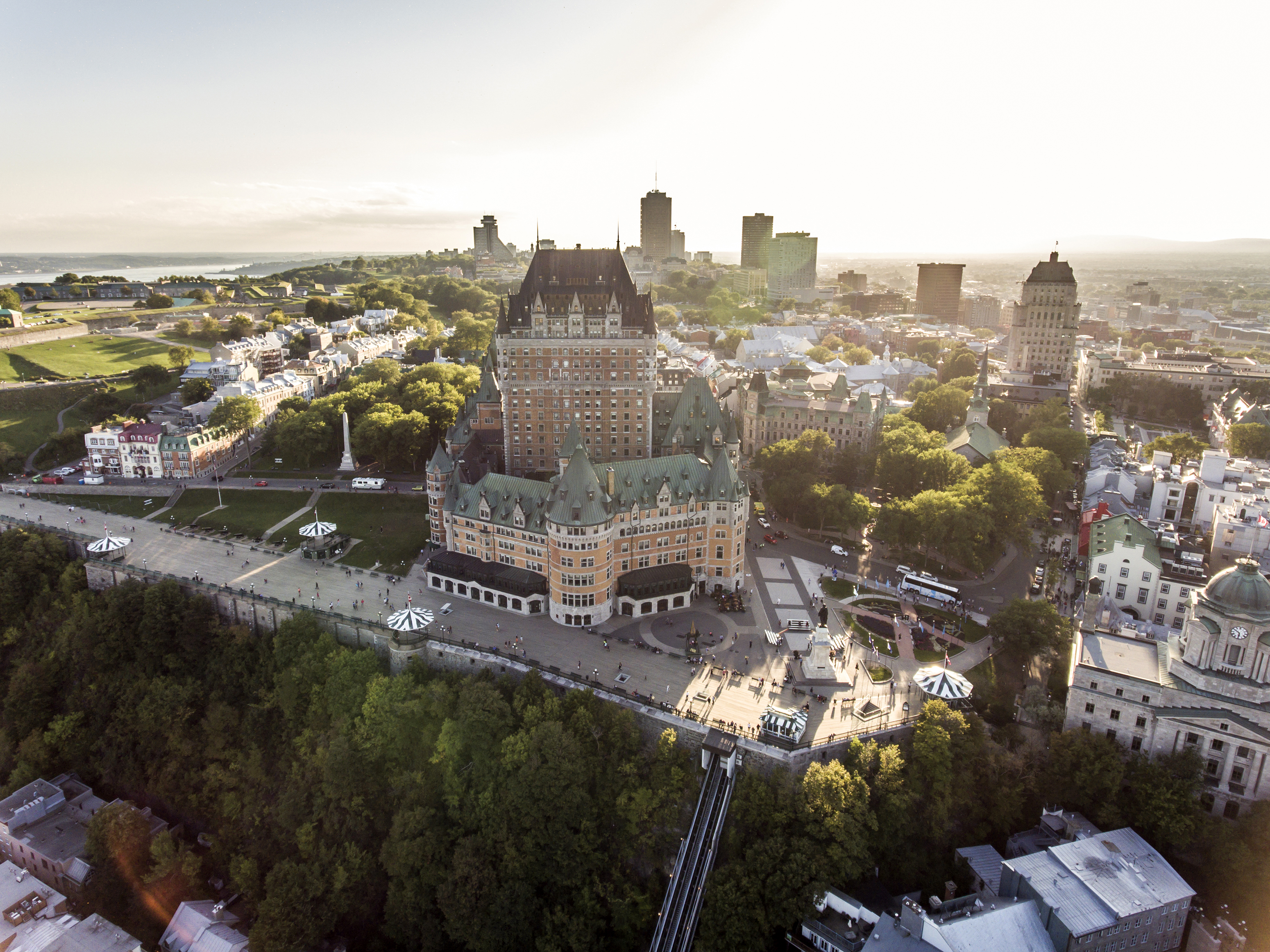 Aerial helicopter view of skyline sunset Quebec City Canada