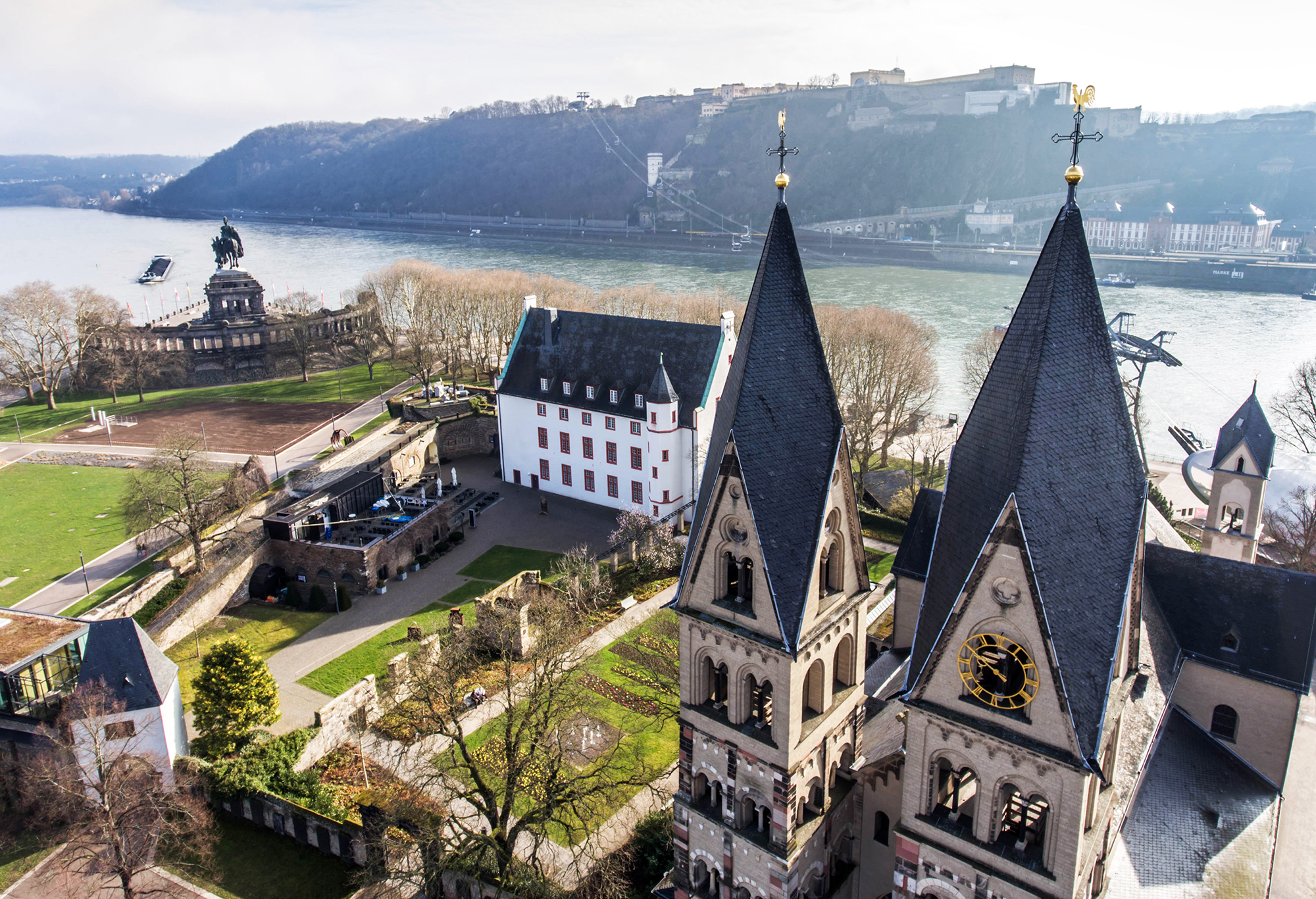 Koblenz City Germany with historic German Corner where Rhine and moselle flow together