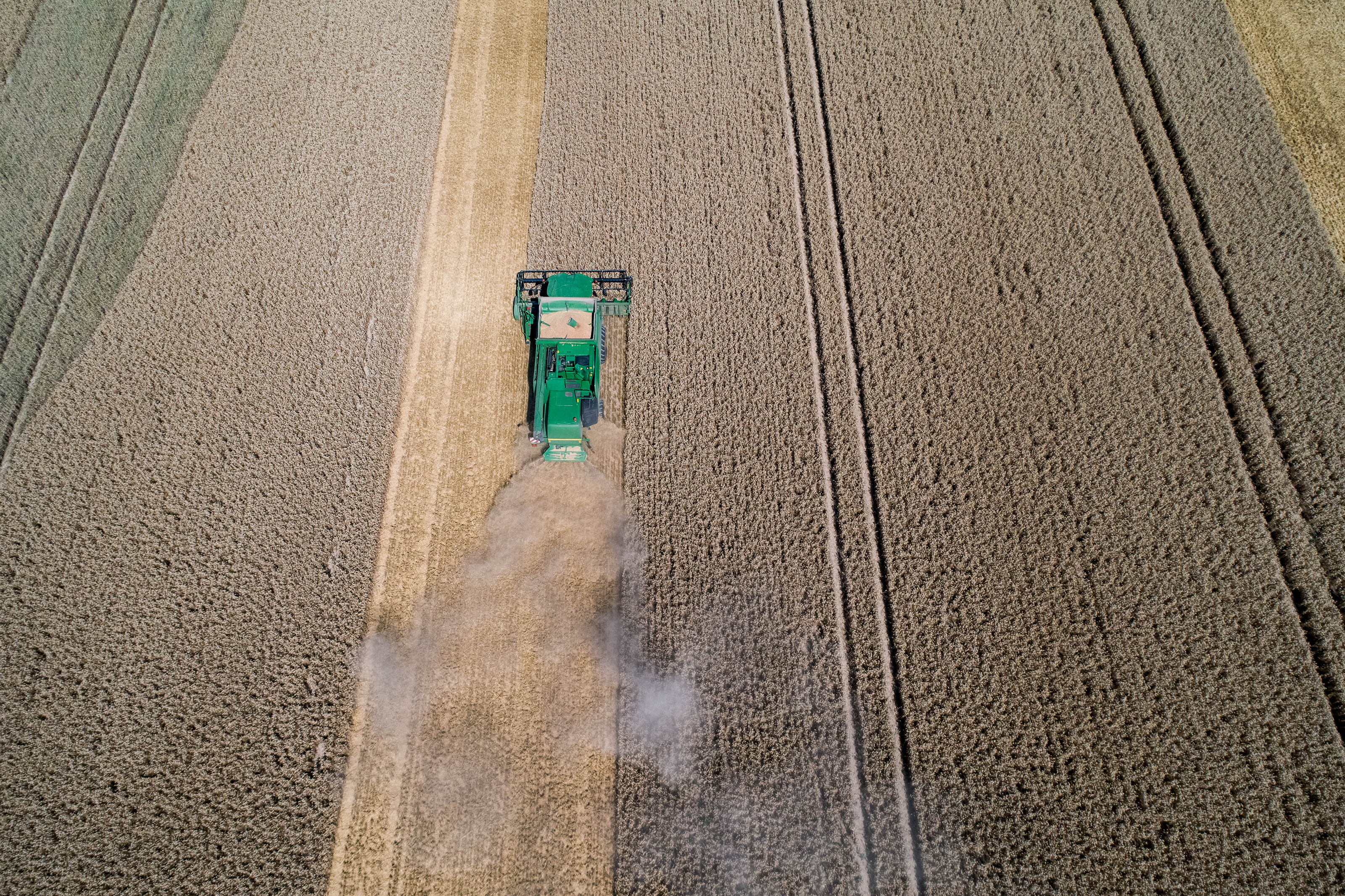 Andernach, Germany 18.07.2018 -Aerial view on the combine harvester working on the large wheat field in Germany