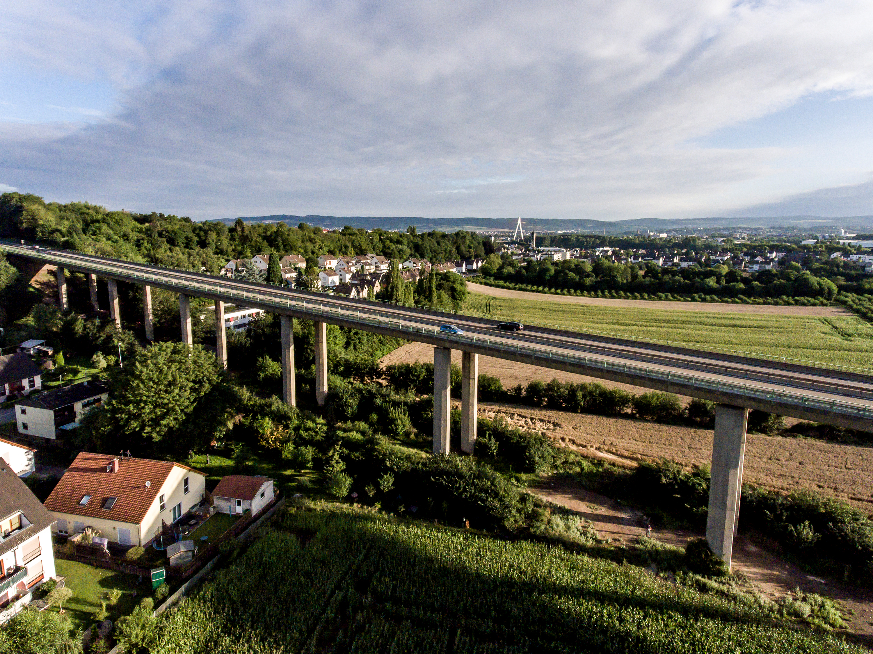 The view over bridge highway in Germany Koblenz Andernach on a sunny day