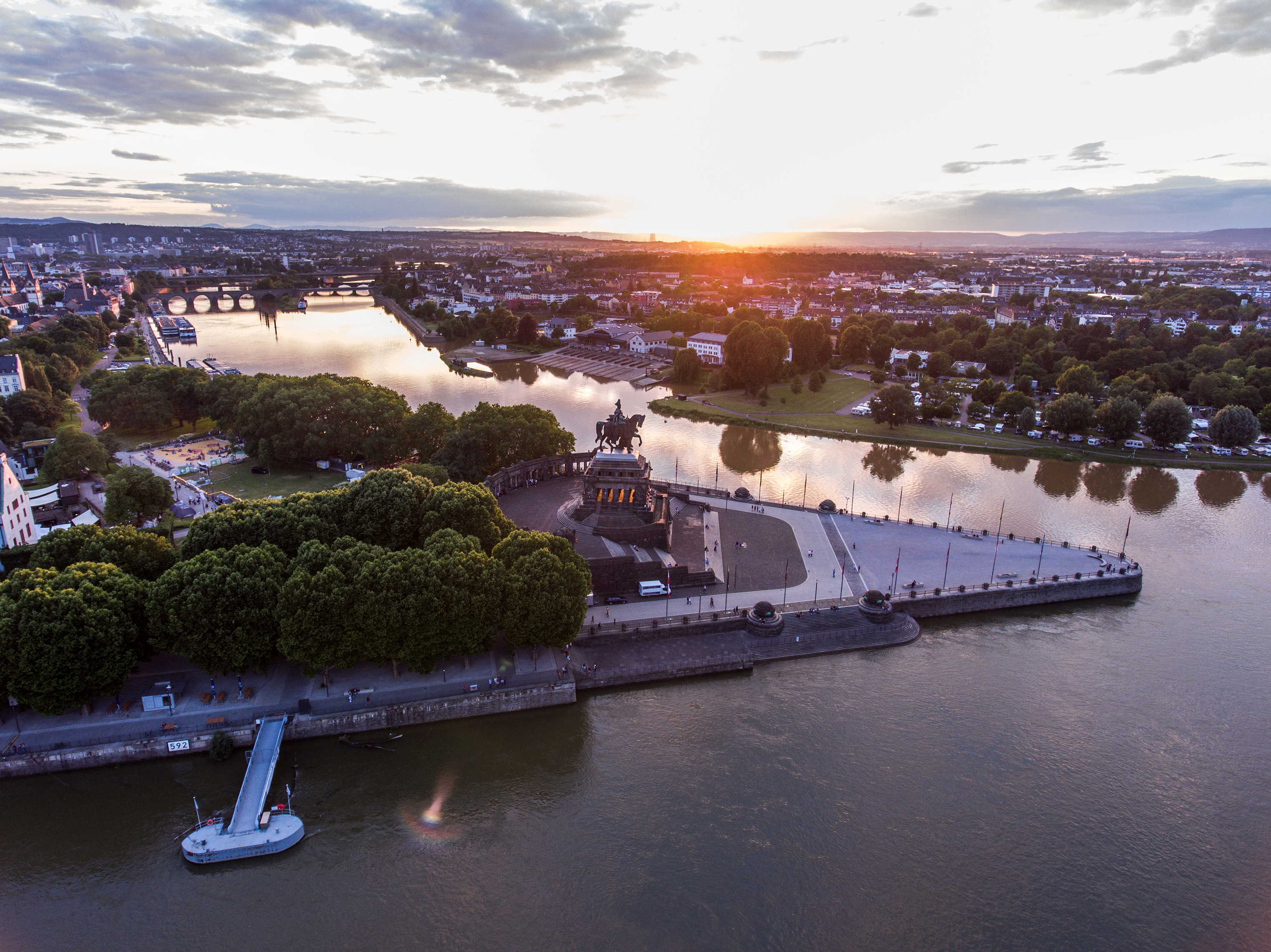 Sunset in Koblenz City Germany with historic German Corner where Rhine and moselle flow together
