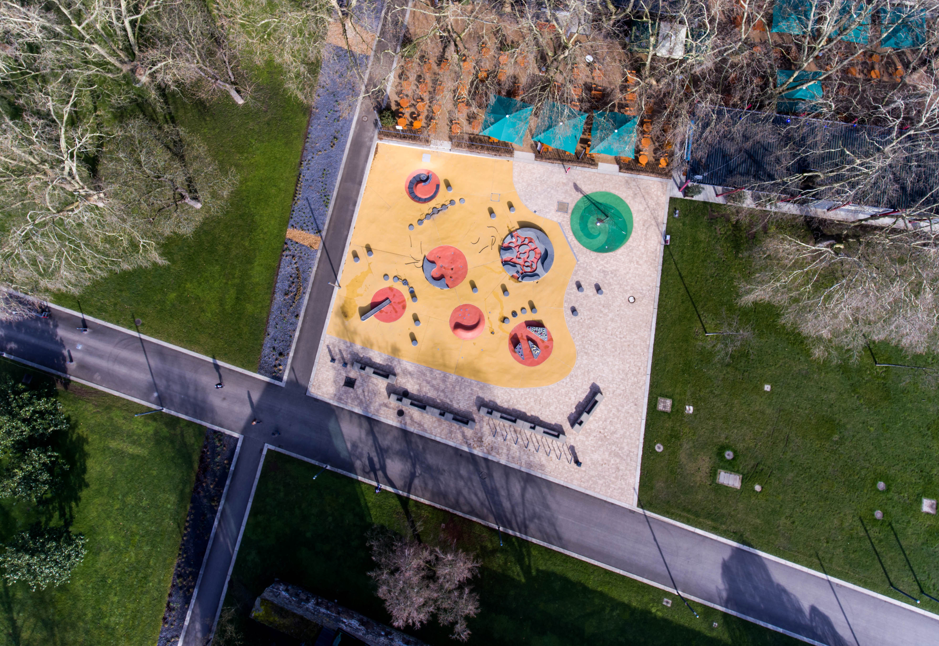 aerial view of a fun water playground in park summer