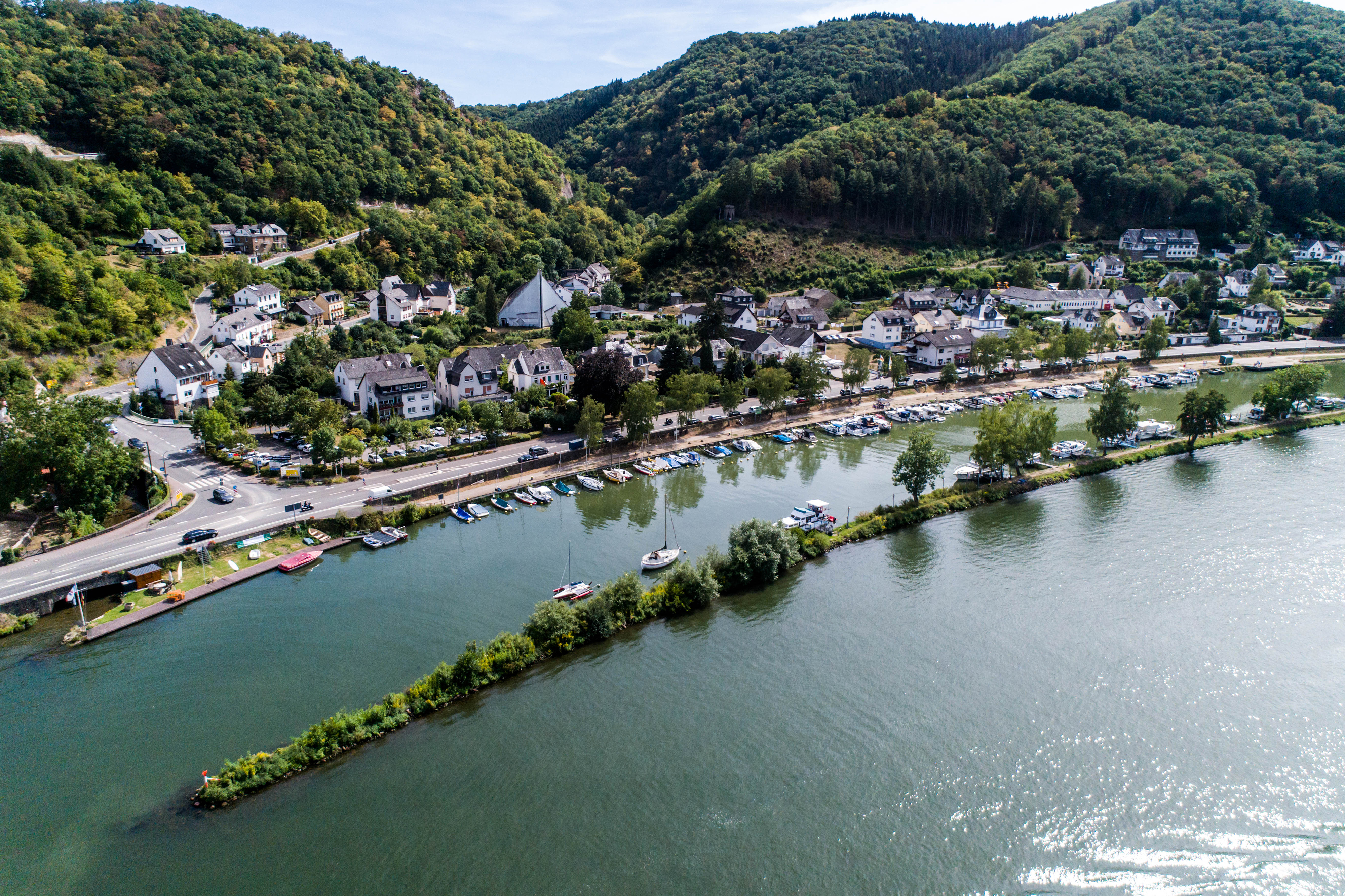 Aerial view of the mosel village Brodenbach in Germany on a sunny summer day.