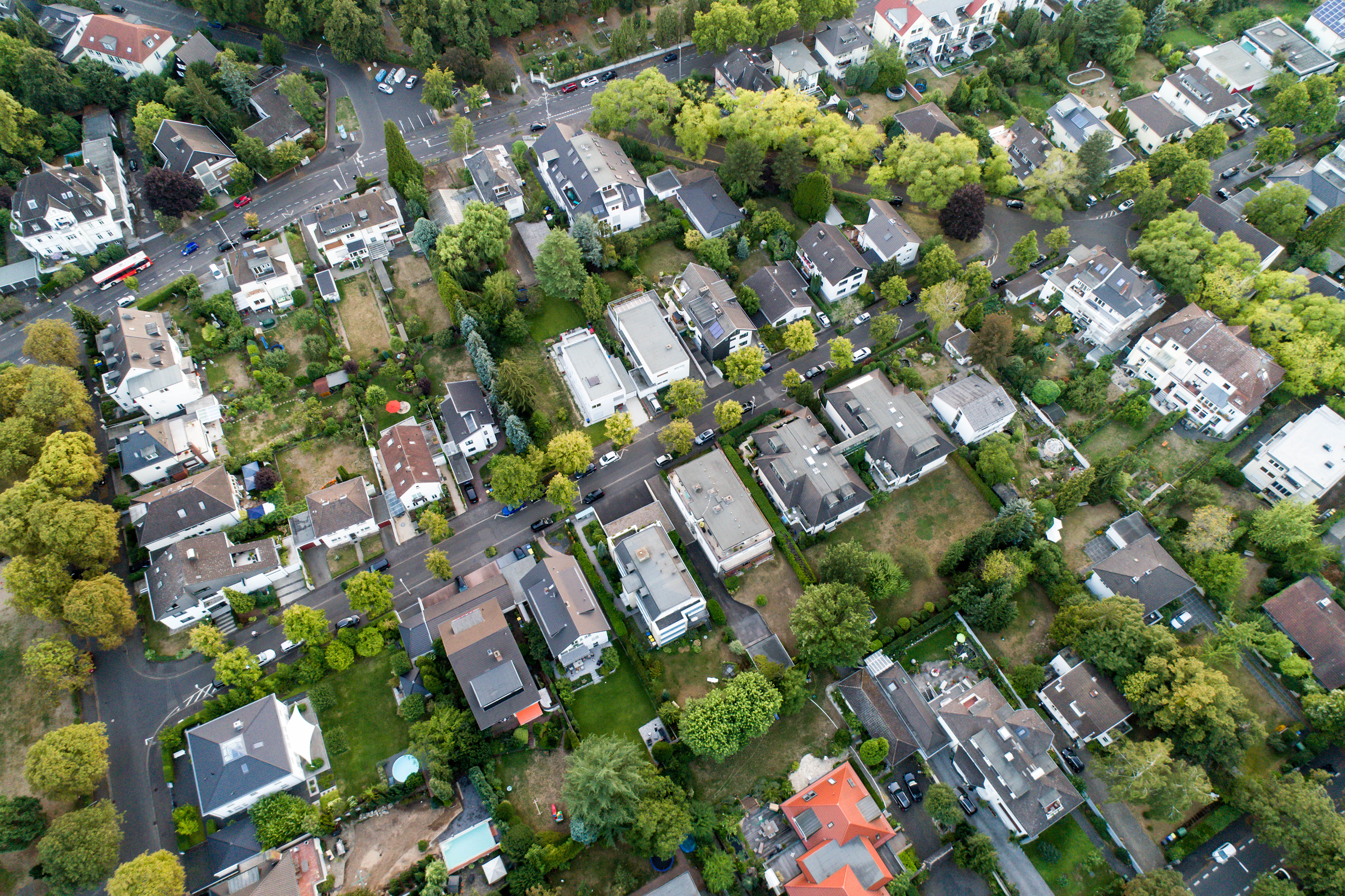 Aerial drone view of streets in Bonn bad godesberg, the former capital of Germany with a typical german house neighbourhood