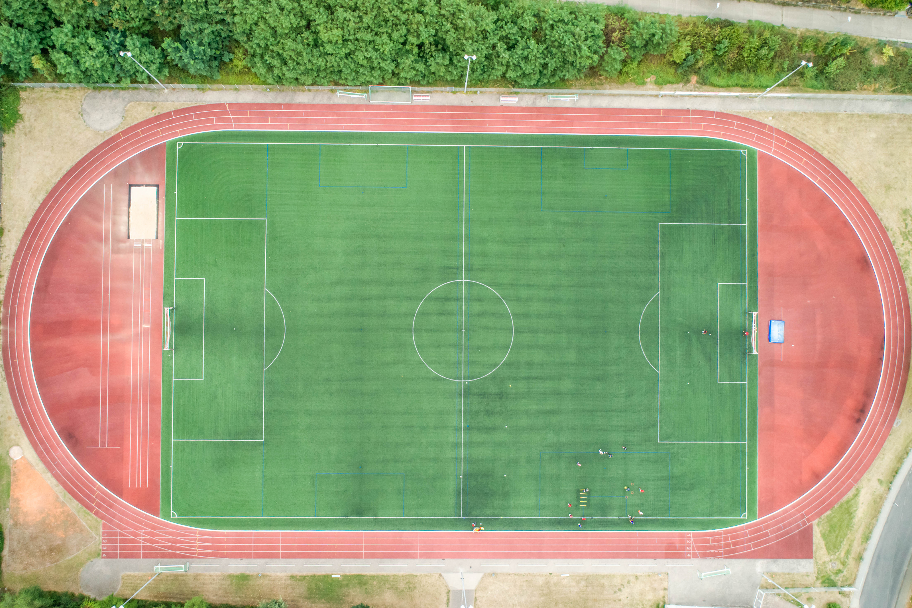 Aerial view of a smal sports soccer football field in village near andernach koblenz neuwied in Germany