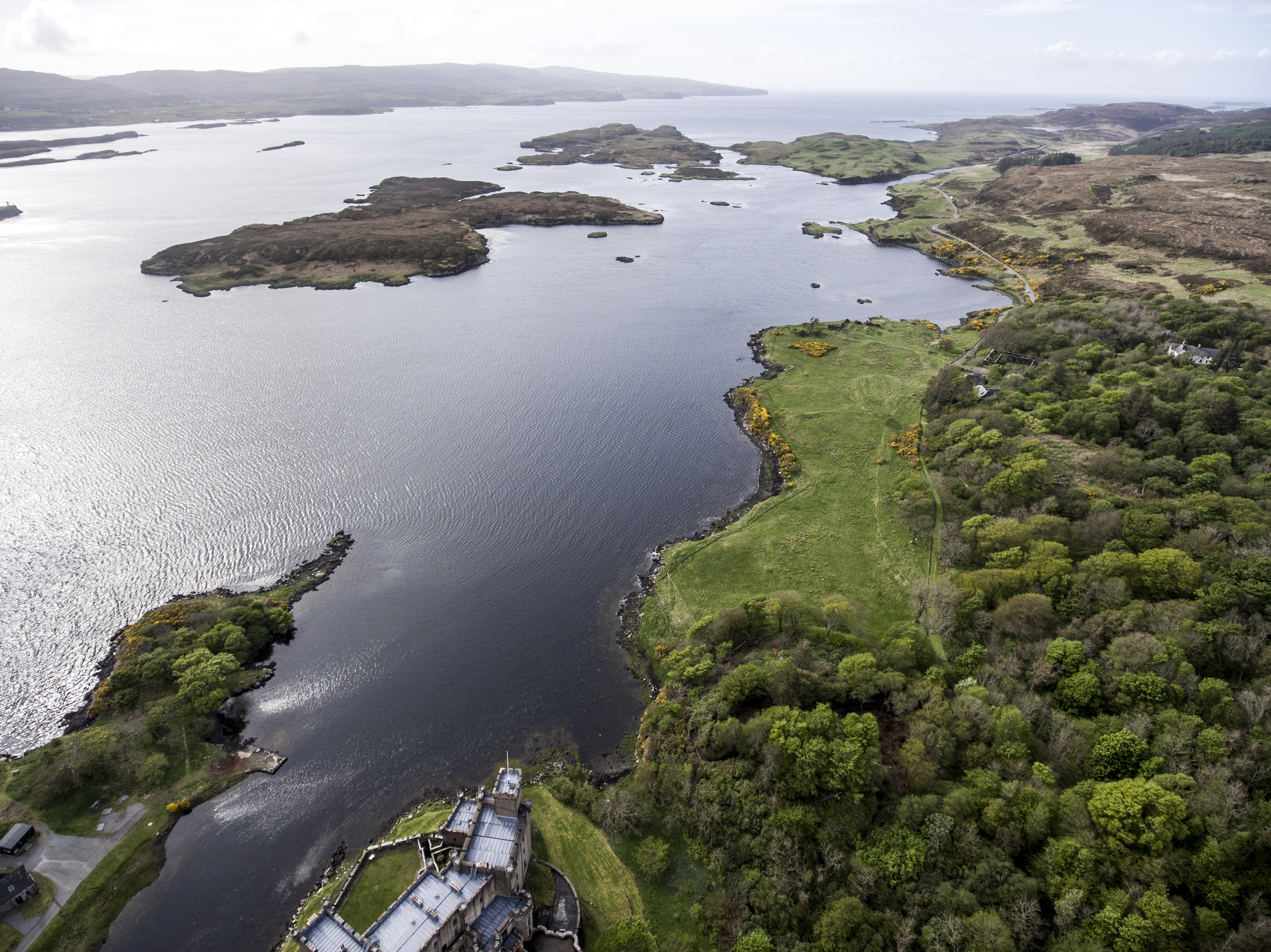 Aearial shot Landscape At Loch Dunvegan, Colbost, Isle of Skye, Scotland, Great Britain 2