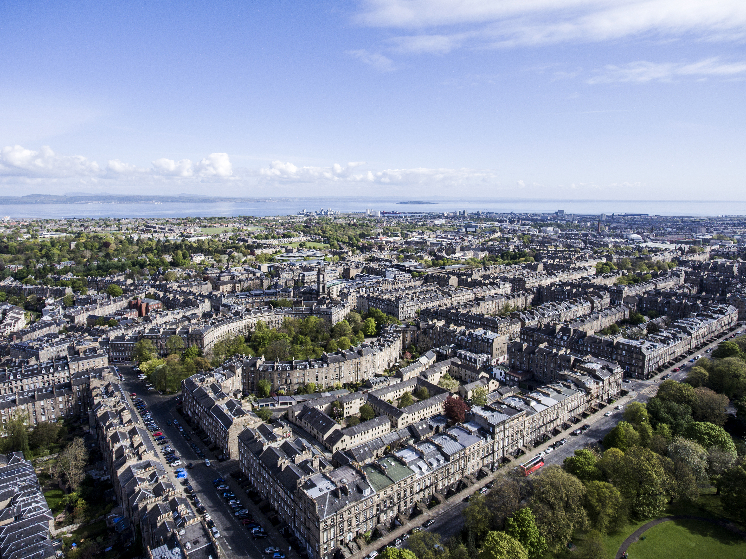 Edinburgh city the historic Town sunny Day Aerial shot