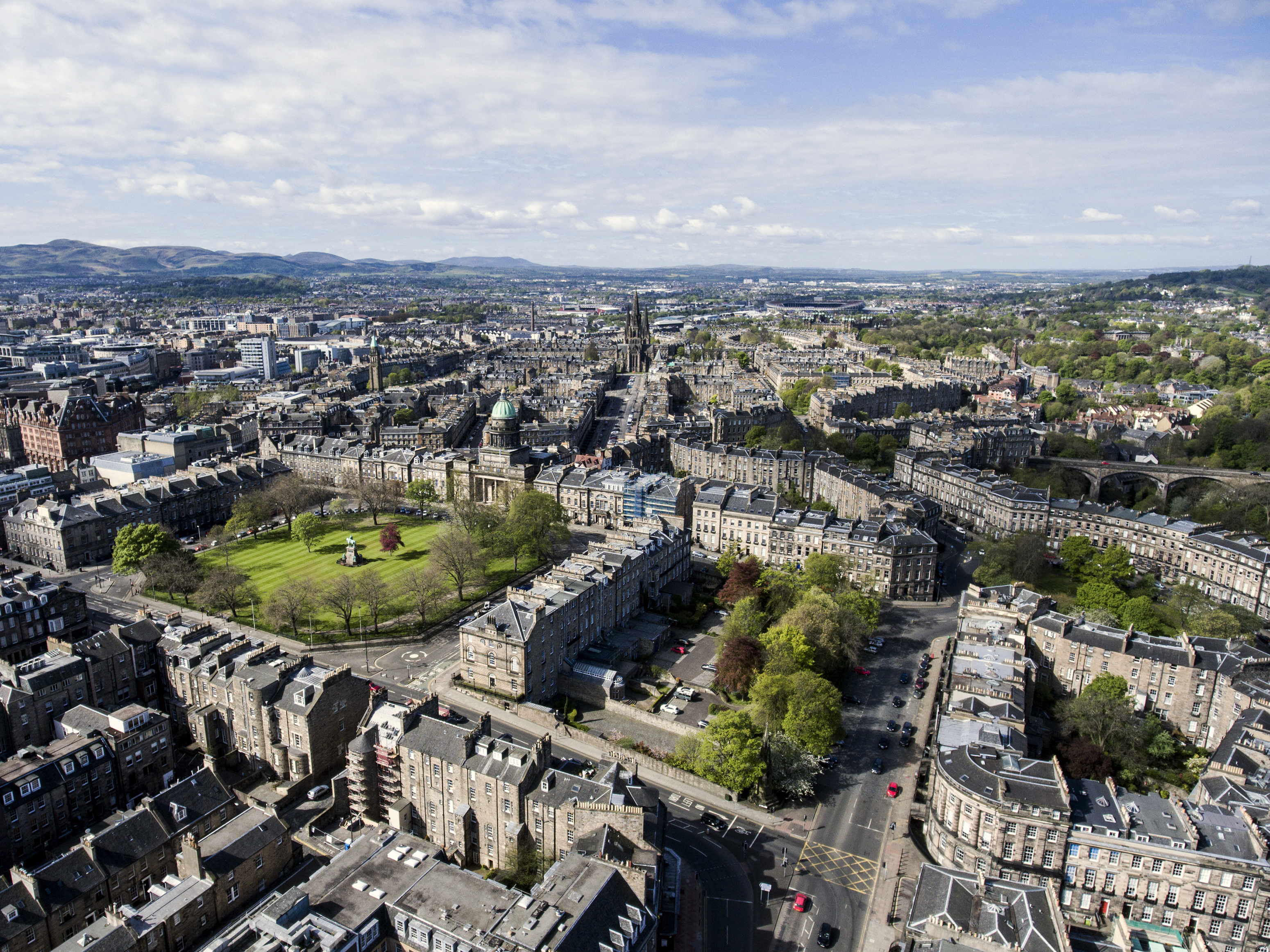 Edinburgh city the historic Town sunny Day Aerial shot 3