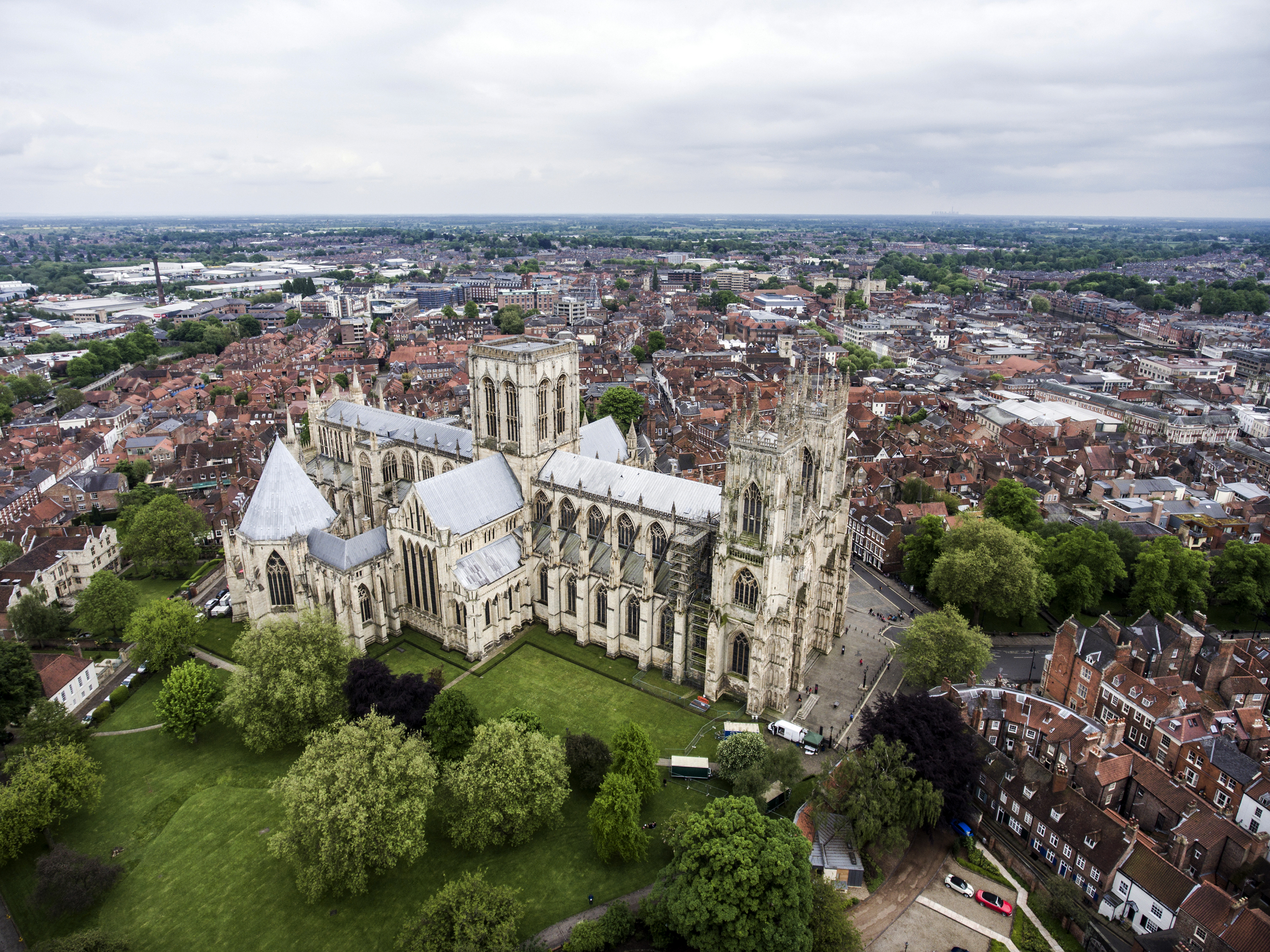 The Big Cathedral of York Church in Yorkshire Aerial