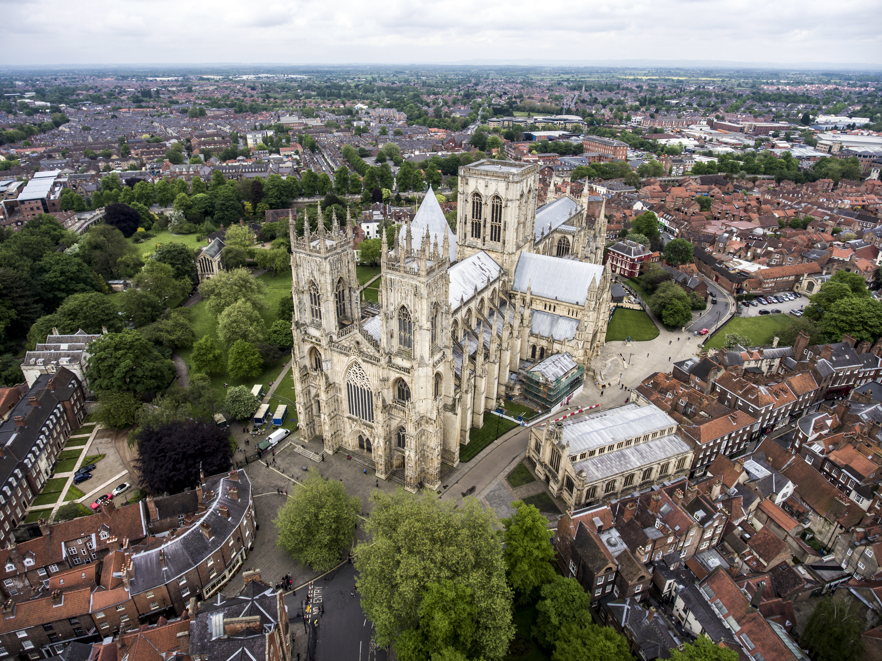 The Big Cathedral of York Church in Yorkshire Aerial 3