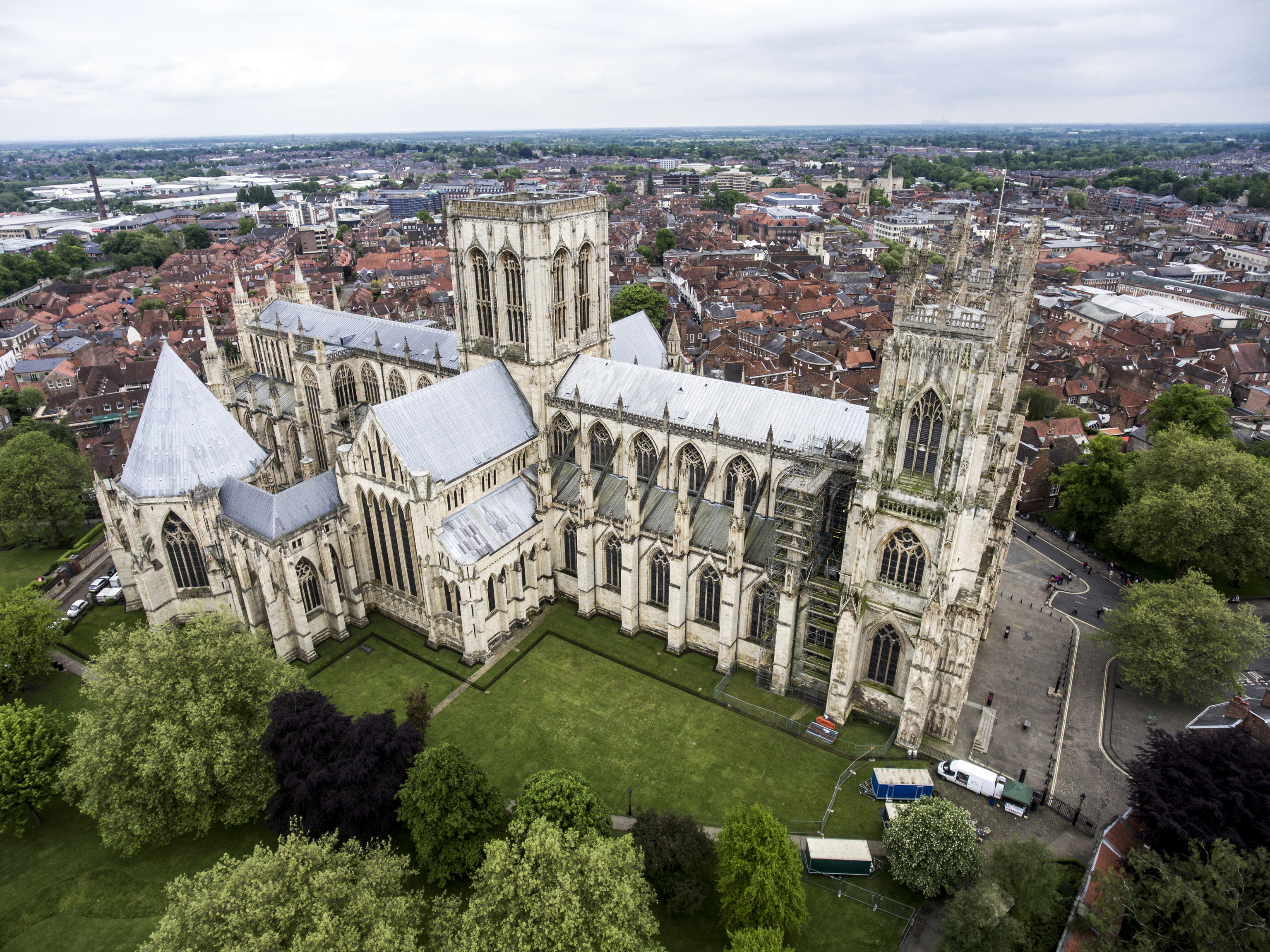 The Big Cathedral of York Church in Yorkshire Aerial 4
